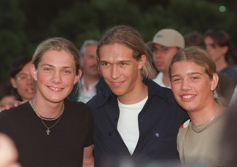 """Los Angeles, CA The Hanson Brothers at the """"Night at the Net"""" charity spectacular at UCLA. The event benefits """"MusiCares"""" Foundation."""