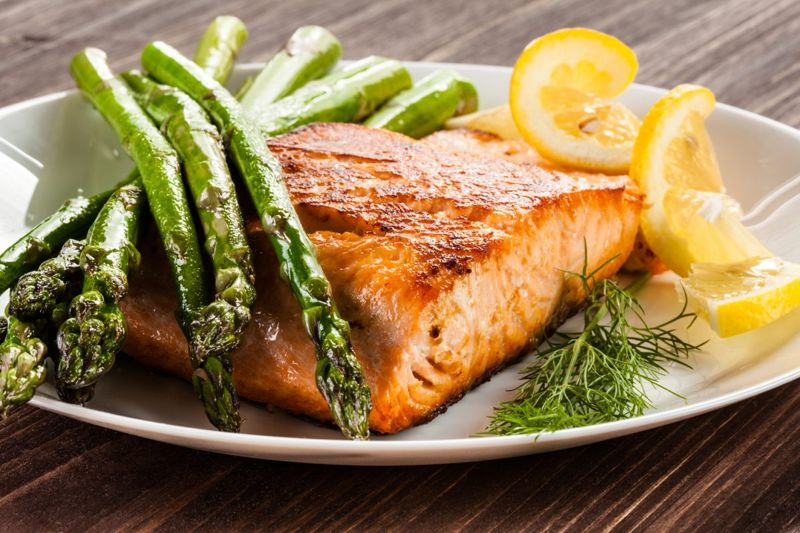 Salmon and other fish have high levels of l-lysine.