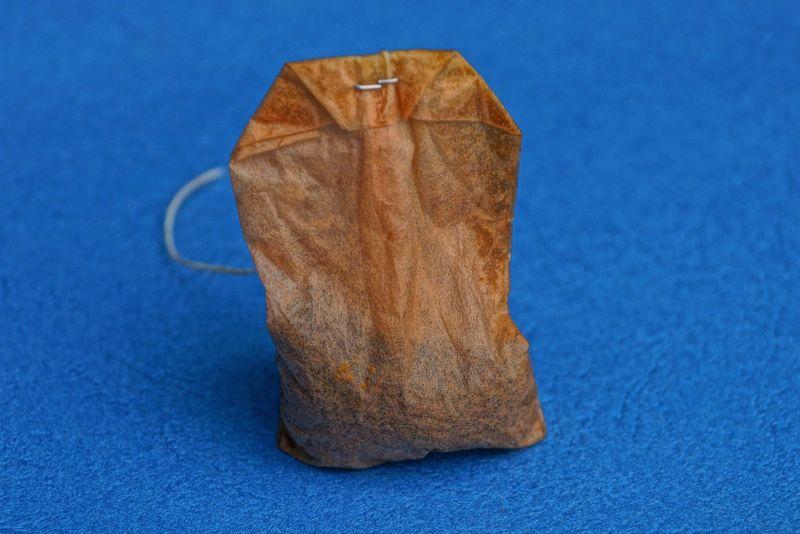 Tea bag on counter