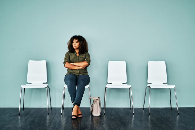 Woman alone in waiting room