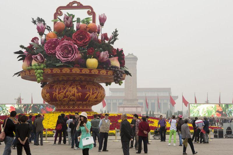 giant sculpture of floral bouquet