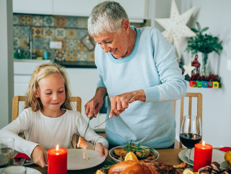 grandma serving food