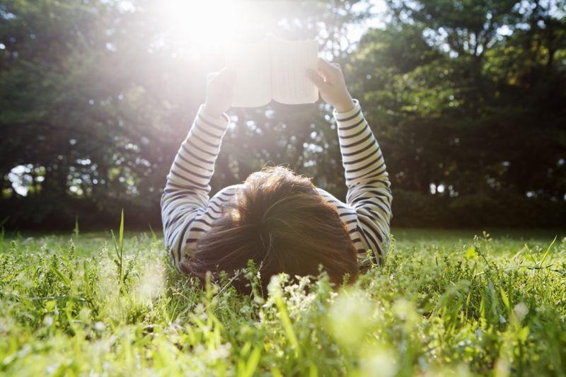 reading book park sunlight