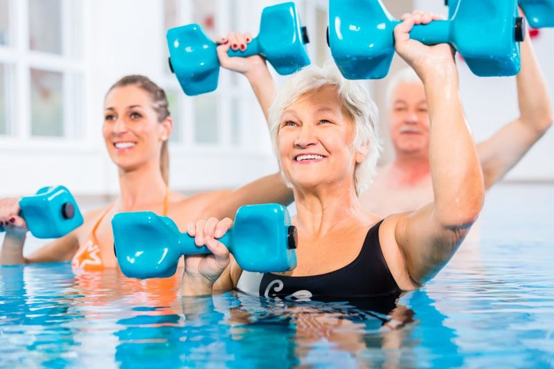Water aerobics is for all ages.