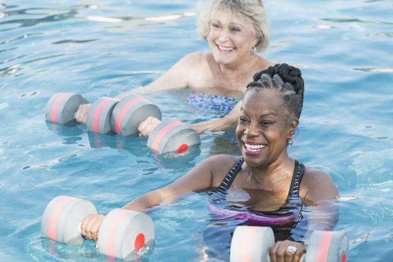 Water aerobics helps boost mood.