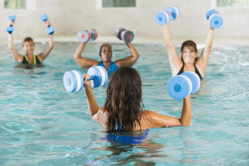 Water weights add more strength training to a water aerobics workout
