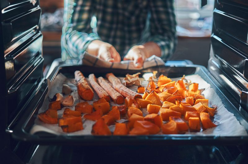 Roasting Carrots and Pumpkin in the Oven