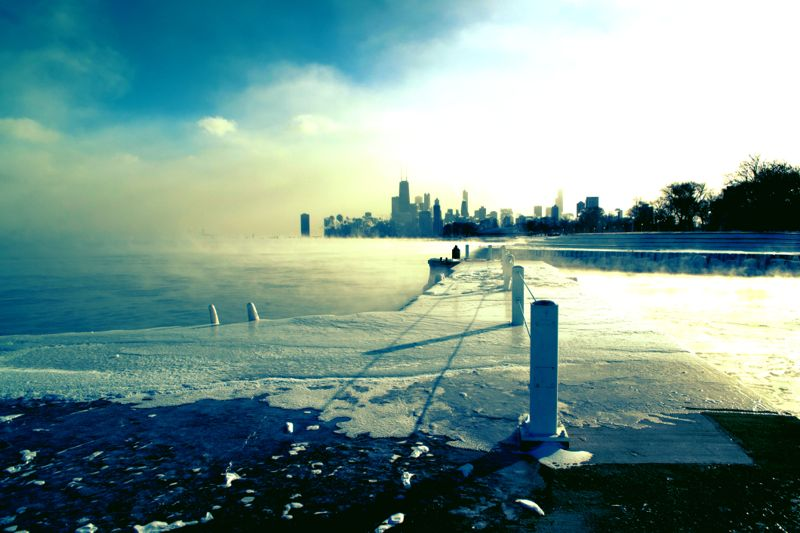 Lake Michigan and the city in the midst of -45 degree temperatures. I almost got frostbit taking this!