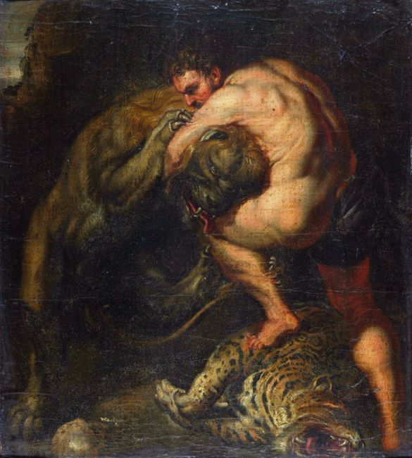 Hercules fight with the Nemeean lion by Pieter Paul Rubens