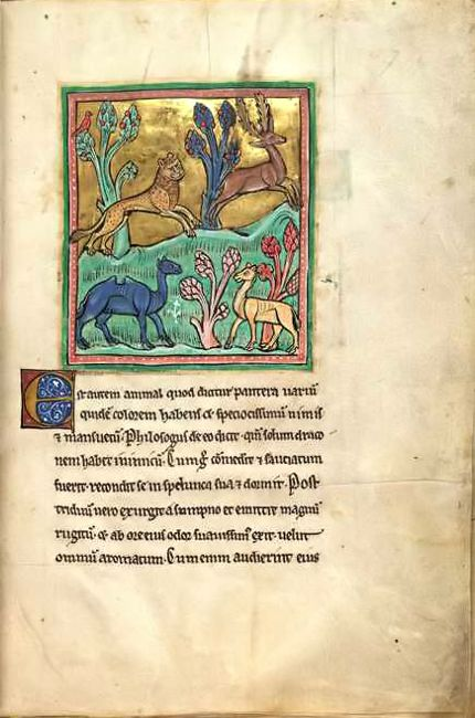 """""""The Leopard"""" from the 13th-century bestiary known as the """"Rochester Bestiary"""""""