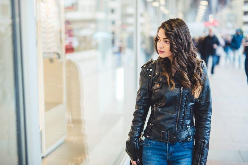 woman leather jacket mall