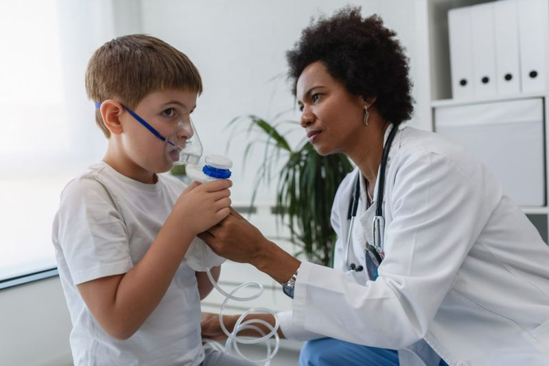 Child being treated by doctor.