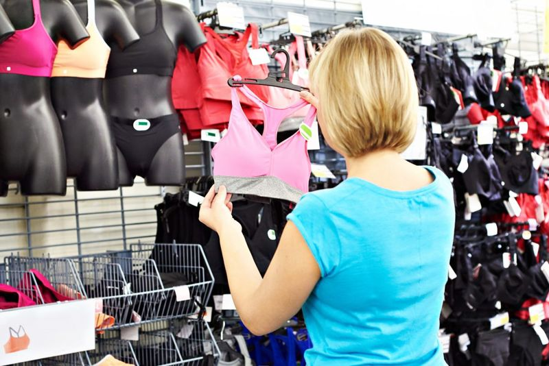 Woman shopping for bra.