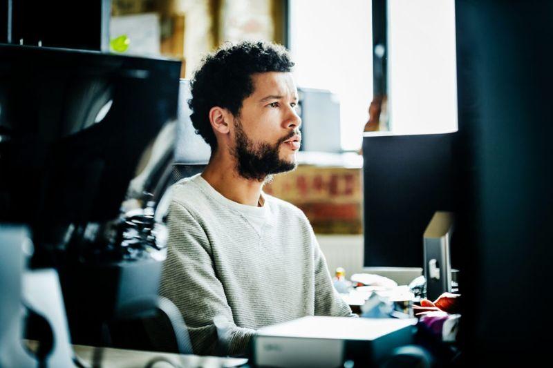 man working office computer