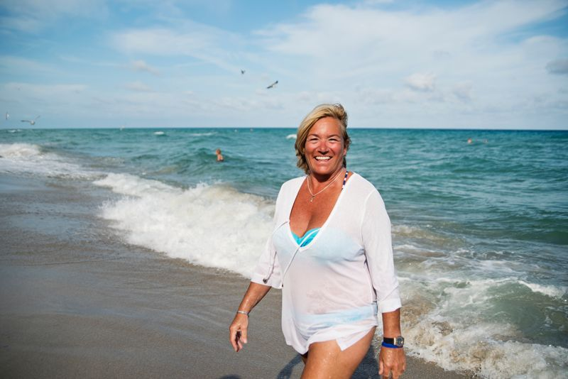 Cute healthy and tanned blonde women in her fifties living the good life.