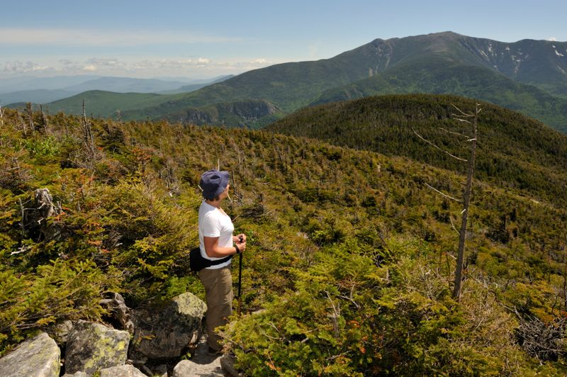 """""""Woman hiking in Franconia Notch State Park, New Hampshire."""""""