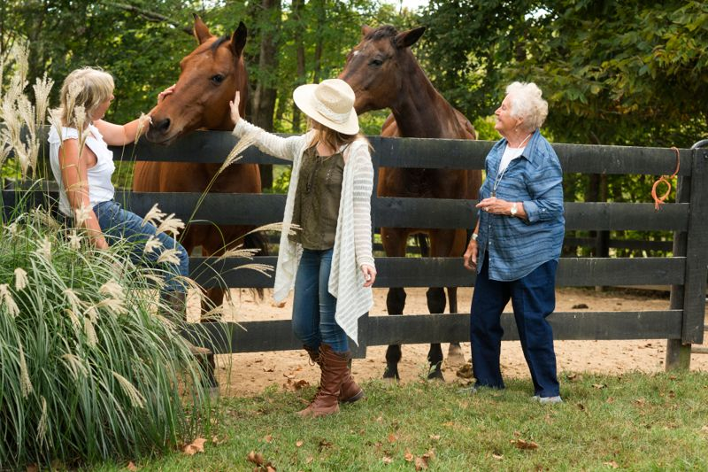 Three generation family with blond teenage daughter, mother and grandmother touching and admiring two thoroughbred horses behind a dark fence on a farm in Kentucky, Midwest, USA