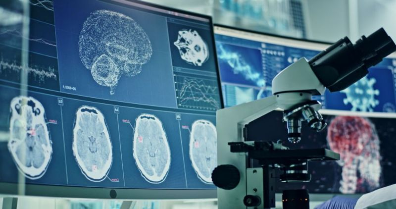 brain scans in a lab with a microscope