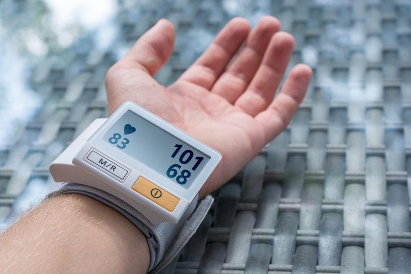 wrist with blood pressure monitor slowing a low reading