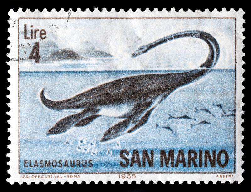 A stamp printed in SAN MARINO showing image of a Elasmosaurus, Prehistoric Animals series, circa 1965