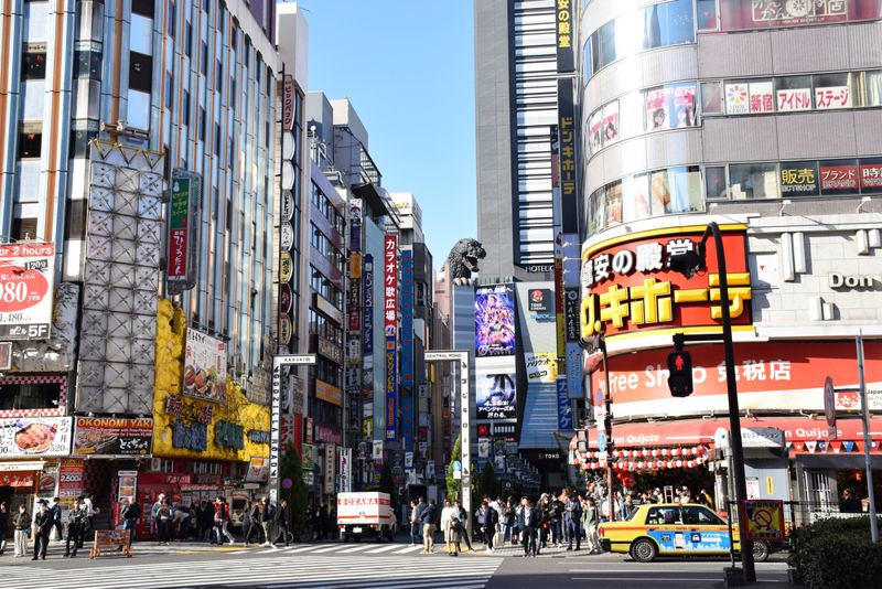 busy downtown in Japan