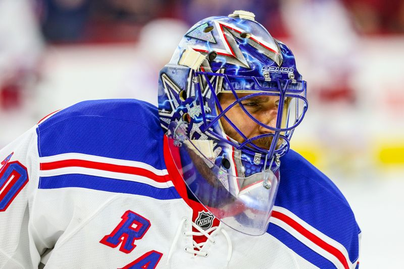 New York Rangers goalie Henrik Lundqvist (30) during the NHL game between the New York Rangers and the Carolina Hurricanes at the PNC Arena