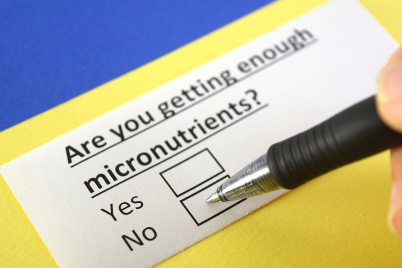 close up of text and check box with pen: are you getting enough micronutrients