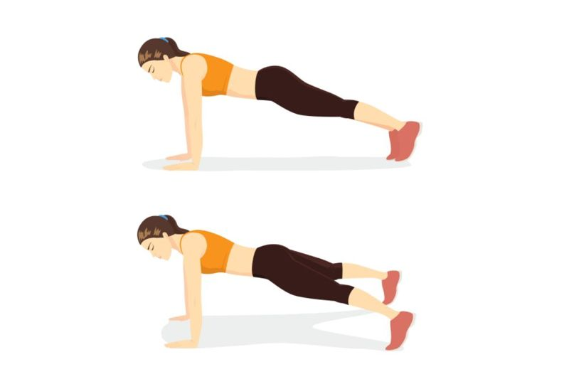 illustration of a woman doing a plank jack exercise