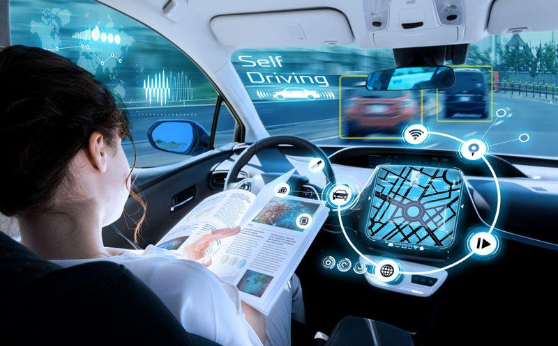 digital concept image of a self-driving car