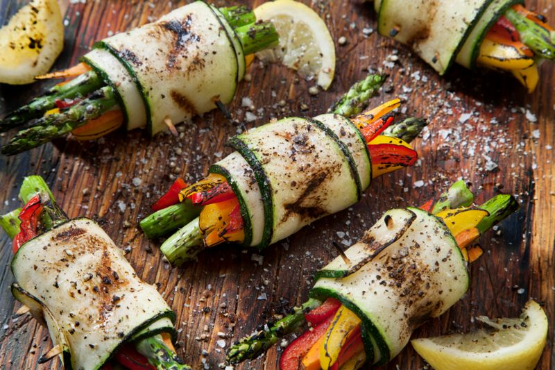 BBQ Zucchini Rolls with Asparagus, Carrots, Peppers and Seasoned with Salt and Pepper