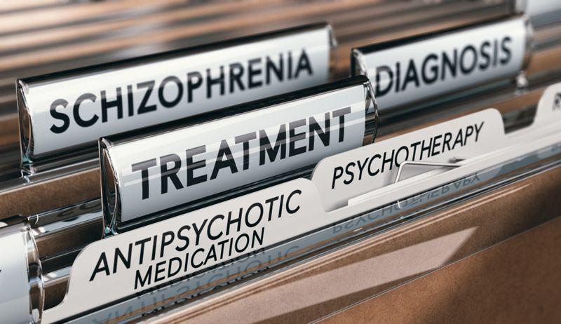 doctor's accordion folder with antipsychotic medication tab