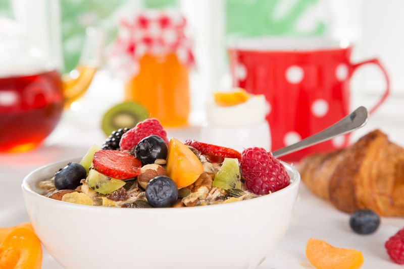 breakfast cereal with fruit on top