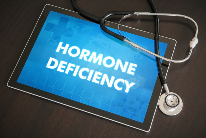 """""""hormone deficiency"""" on a tablet with a stethoscope"""