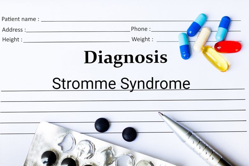 diagnosis concept with chart and pills for Stromme syndrome