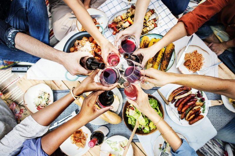 sharing food at a table