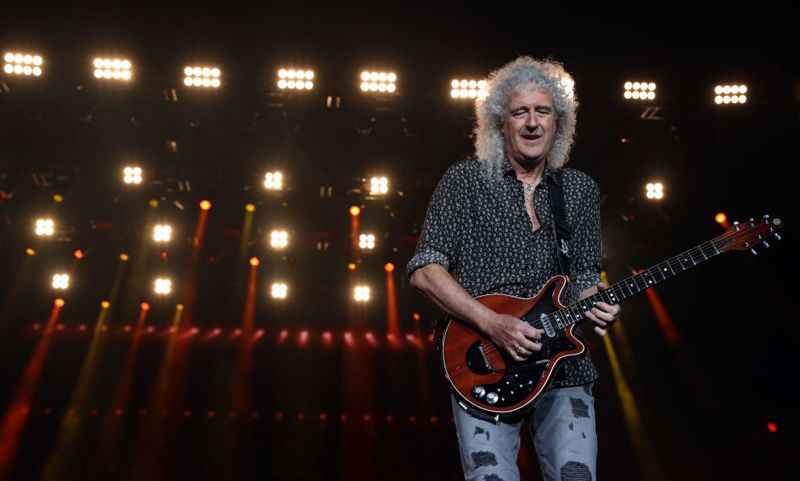 SYDNEY, AUSTRALIA - FEBRUARY 16: Brian May of Queen performs during Fire Fight Australia at ANZ Stadium on February 16, 2020 in Sydney, Australia.