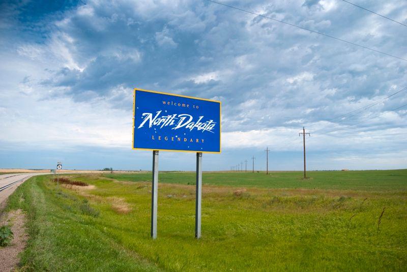 Welcome to North Dakota sign along the border with South Dakota.