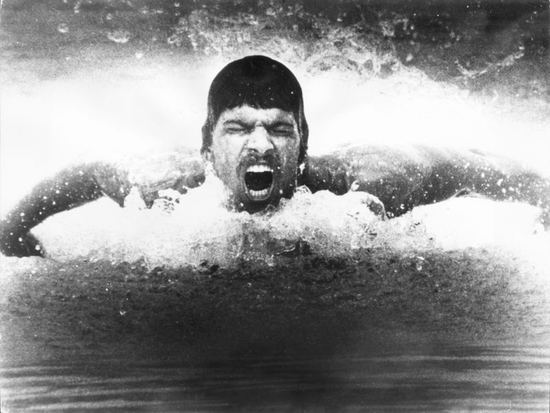 Olympic swimming gold medal winner Mark Spitz in action during a training session.