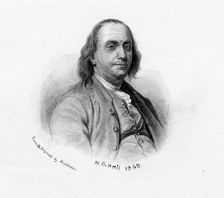 Engraved portrait of a younger Benjamin Franklin by HB Hall, 1868. From the New York Public Library.