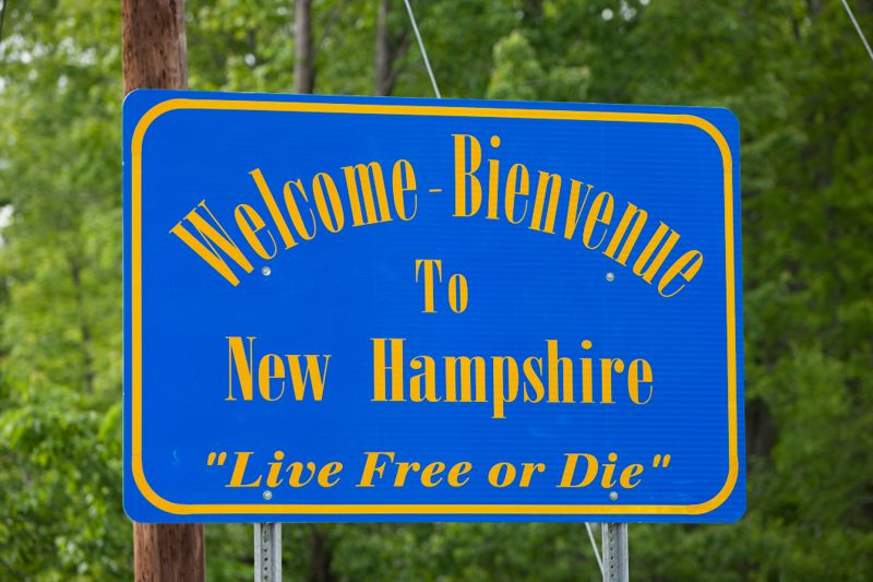 USA, New Hampshire, Welcome to New Hampshire sign