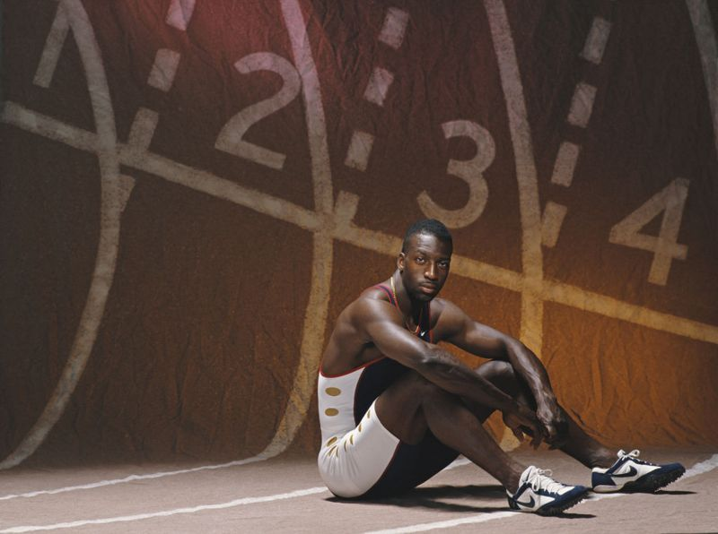 A portrait of Olympic and IAAF World Championship Gold medal wiinning 200 metres and 400 metres sprinter Michael Johnson of the United States on 22 April 1996 at Waco, Texas, United States.
