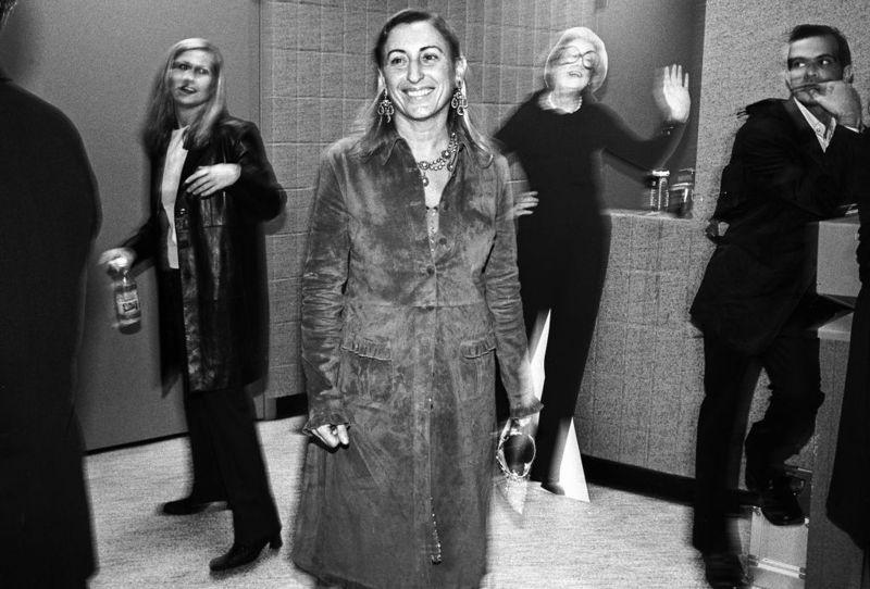 NEW YORK - OCTOBER 1998: Italian fashion designer Miuccia Prada, center, backstage at the VH1 Fashion Awards in October 1998 in New York City, New York.