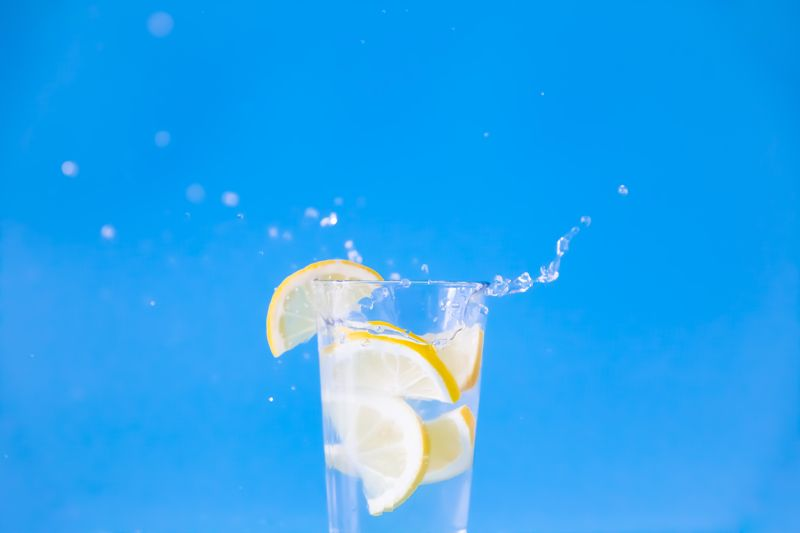 water with lime wedges