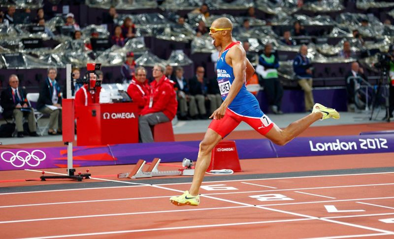 Dominican Republic's Felix Sanchez wins the men's 400m hurdles final at the London 2012 Olympic Games at the Olympic Stadium August 6, 2012.