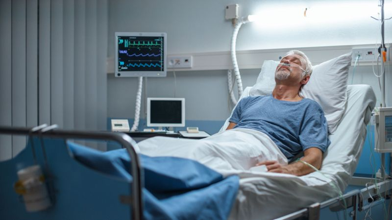 man unconscious in the hospital