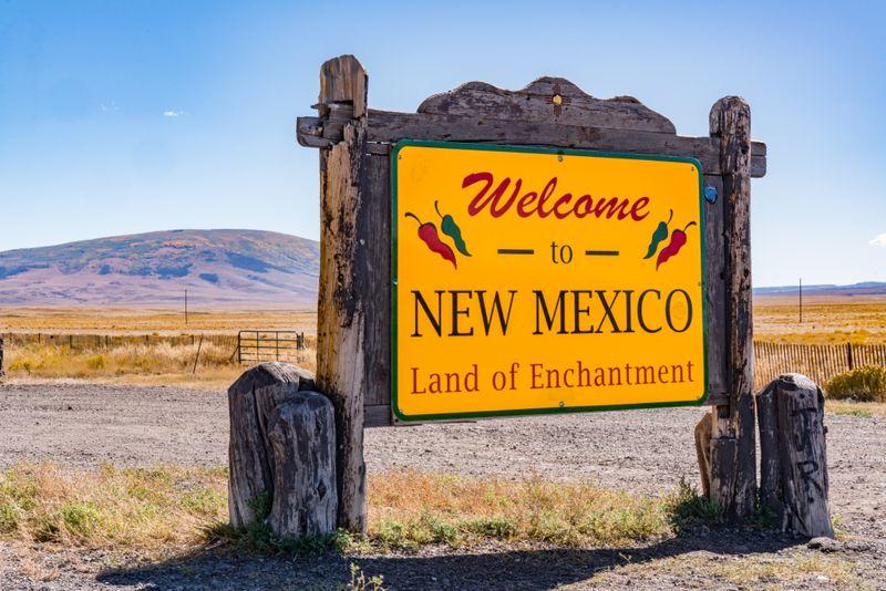 Welcome to New Mexico Sign near the Colorado - New Mexico Border