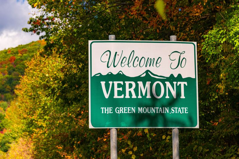 Welcome to Vermont state sign at road side with foliage in USA