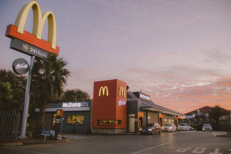 McDonalds drive-thru at dusk