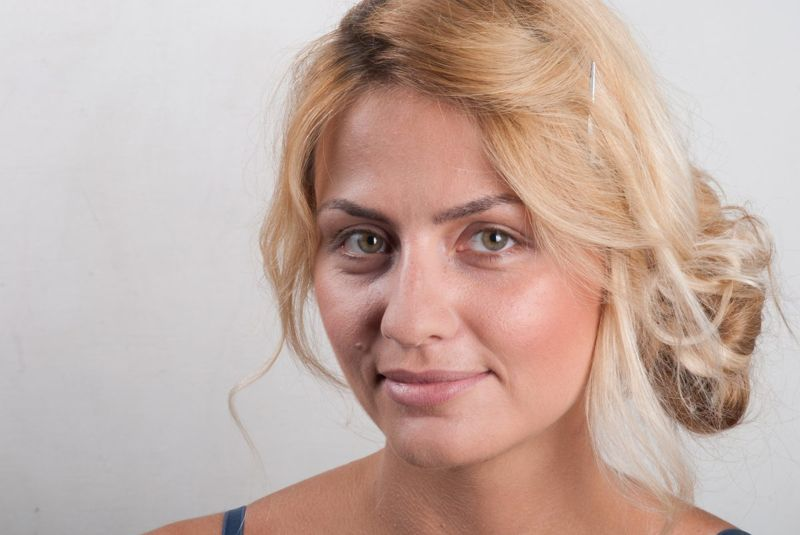Woman with dark brows