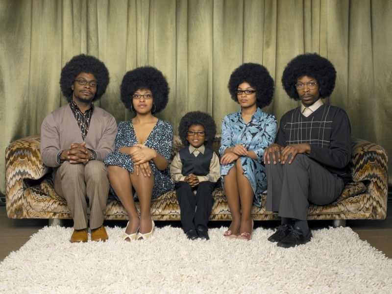 Family with Afros